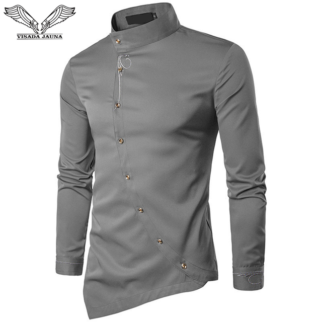 caf424ac6d VISADA JAUNA 2018 New Men s Fashion Cotton Long Sleeved Shirt Solid Color  Slim Fit Shirts Men Casual Irregular Man Dress N8931