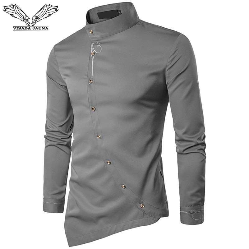 VISADA JAUNA 2019 New Men Fashion Long Sleeved Muslim Shirt Solid Slim Fit Business Shirts Men Casual Irregular Dress Camisas