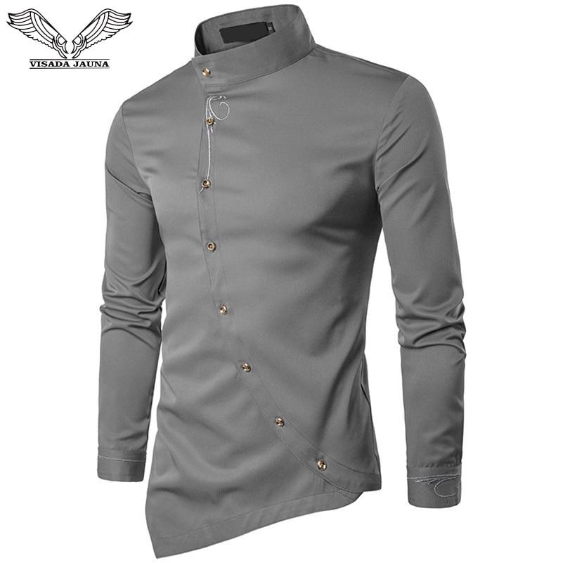VISADA JAUNA 2019 New Men Fashion Long Sleeved Muslim Shirt Solid Slim Fit Business Shirts Men Casual Irregular Dress Camisas