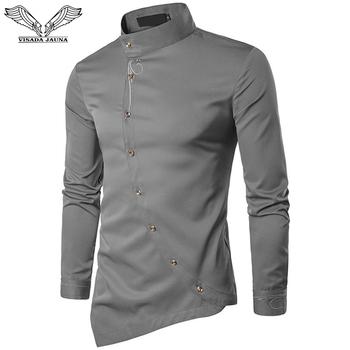 VISADA JAUNA 2019 New Men Fashion Long Sleeved Muslim Shirt Solid Slim Fit Business Shirts Casual Irregular Dress Camisas - discount item  49% OFF Shirts