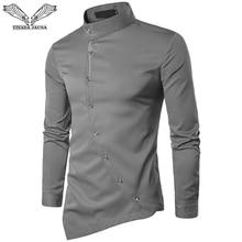 VISADA JAUNA 2019 Nuovi Uomini di Modo A Maniche Lunghe Musulmano Camicia Solid Slim Fit Affari Camicette Uomini Casual Vestito Irregolare Camisas