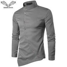 Visada Jauna 2019 Nieuwe Mannen Mode Lange Mouwen Moslim Shirt Solid Slim Fit Business Shirts Mannen Casual Onregelmatige Jurk Camisas