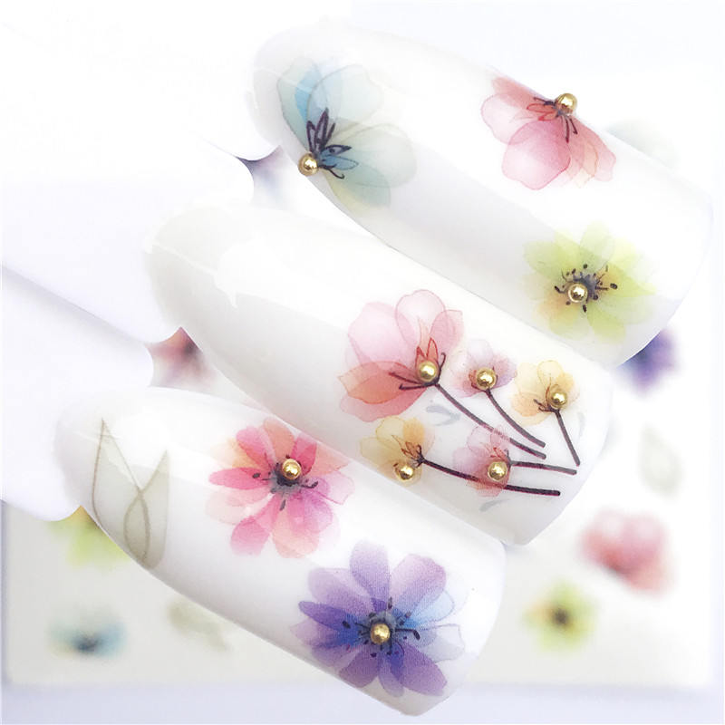WUF 1 PC Transparent Color Flower Water Transfer Sticker Nail Art Decals DIY Fashion Wraps Tips Manicure Tools