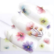 WUF 1 PC Transparent Color Flower Water Transfer Sticker Nail Art Decals DIY Fashion Wraps Tips Manicure Tools(China)