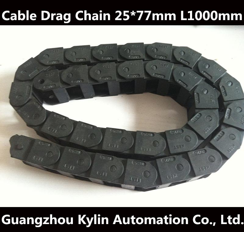 Best price!25 x 77 mm L1000mm Cable Drag Chain Wire Carrier with end connectors for CNC Router Machine Tools best price 10pcs stainless steel wire keychain cable key ring for outdoor hiking popular