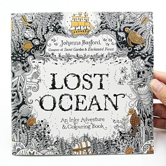 1 piezas 24 páginas Lost Ocean Inky Adventure libro para colorear ...