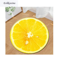 Free Shipping Yellow Lemon Round Non Slip Absorbent Fruit Bath Mat Area Rug For Living