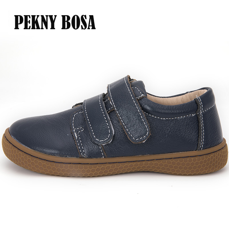 PEKNY BOSA Brand High Quality Genuine Leather Kids Children Shoes Barefoot toddler boys and girls casual sneakers size 25-35#