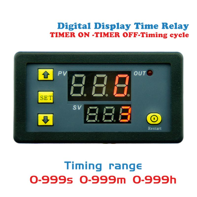 DC12V 20A 1500W Timing Delay Relay Module Timing Timer Digital Display Time Delay Cycling Module 0-999h Adjustable Power Supplie