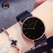 36mm Black Dial 2018 New Designer Japan Quartz Movement Women Nylon Strap Watch Rose Gold Ladies Watches Waterproof Montre Femme
