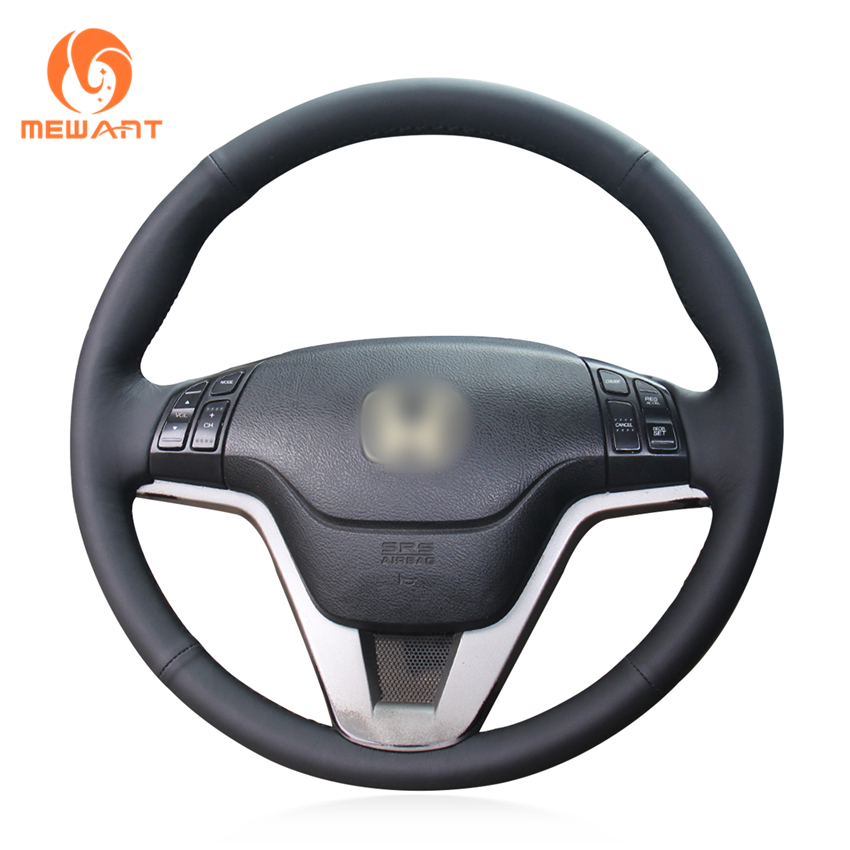 MEWANT Black Genuine Leather Car Steering Wheel Cover for Honda CR-V CRV 2007-2011 for honda crv cr v 2017 2018 stainless steel inner