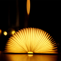 Wooden Cover DuPont Paper LED Book Lamps Micro USB Battery Charge Light LED Foldable Portable Mini Book Night Lighting