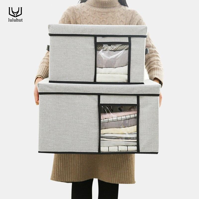 Luluhut oxford vêtements boîte de rangement pliable sous-vêtements couette conteneur de rangement avec perspective fenêtre armoire organisateur