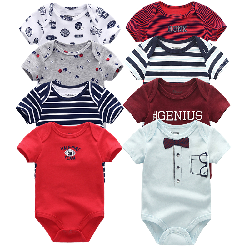 2019 Baby Bodysuits Short Sleeve Cotton Newborn Clothes Boys Girls Jumpsuit Overalls Clothing(China)