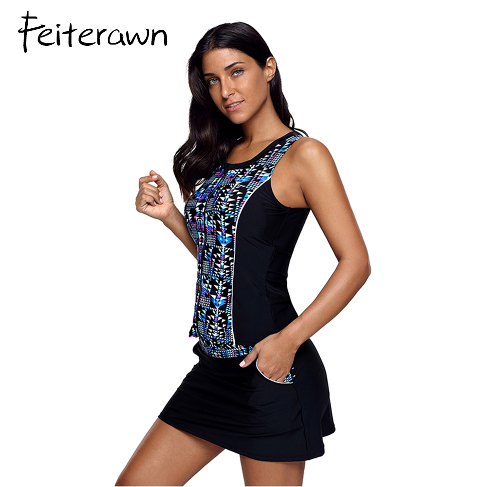 2cff0b6d4589c Feiterawn Swimming Suit For Women Sexy Print Tankini Top And Solid Swim  Skirt Bottoms Swimsuit Biquini With Shorts Beachwear