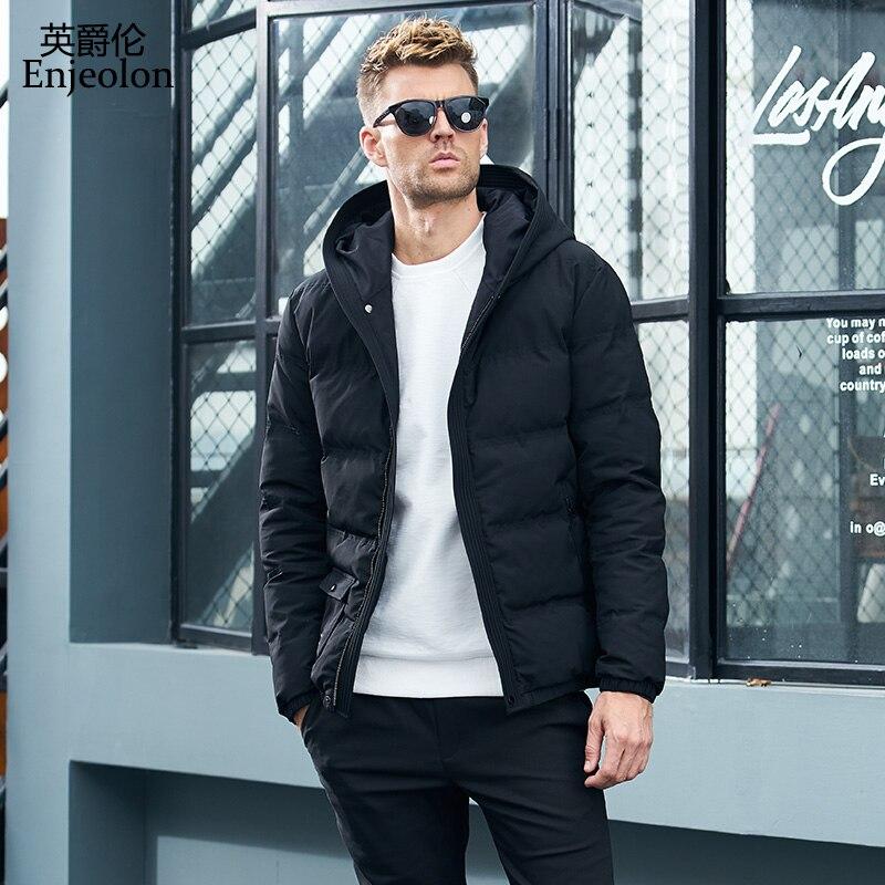 Enjeolon Brandwinter algodón acolchado chaqueta con capucha hombres grueso sudaderas Parka abrigo masculino acolchado chaqueta de invierno abrigo 3XL MF0709-in Parkas from Ropa de hombre    2