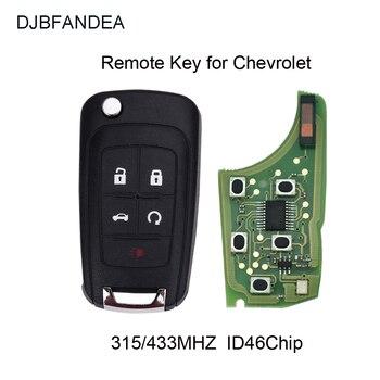 DJBFANDEA 5 Button Flip Folding Remote Car Key Fob for Chevrolet Camaro Cruze Equinox Impala Spark Volt 433MHz ID46 Chip