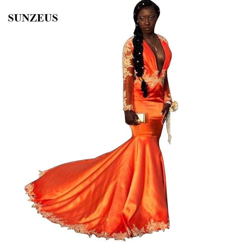 Femmes africaines sirène robes de bal à manches longues col en v profond Orange robe formelle avec Appliques robes de soirée longue