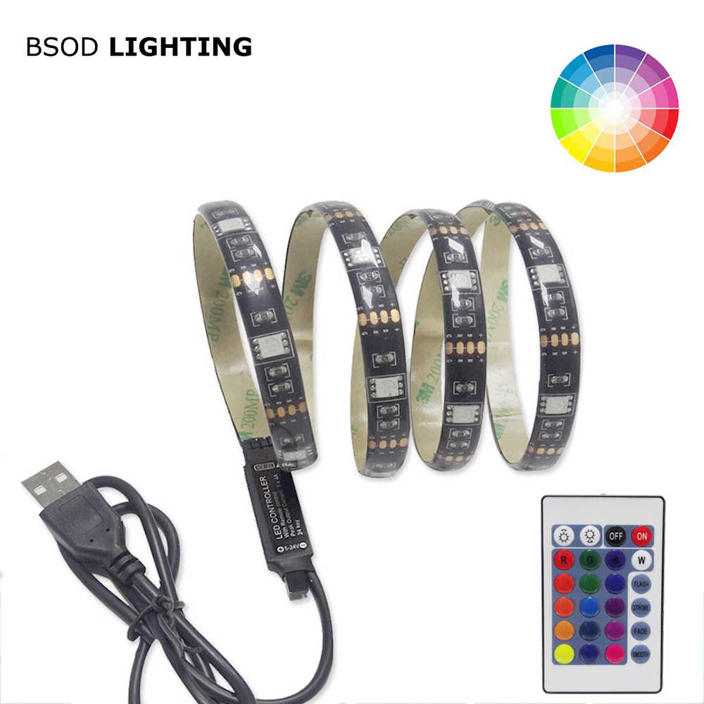 USB 5 V TV Backlight Strip BSOD LED Line DIY SMD 5050 RGB Hitam PCB Pita Perekat USB IR controller Tidak Tahan Air 0.5 M/1 M