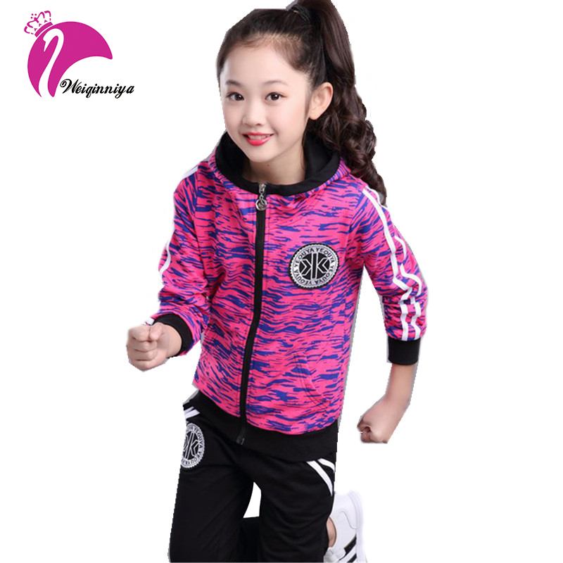 все цены на Girls Sports Suits Girls Set Autumn Casual Stripe Hooded Coat+Pants 2Pc Girl Tracksuit 2018 Kid Print Suit Children Clothing Set