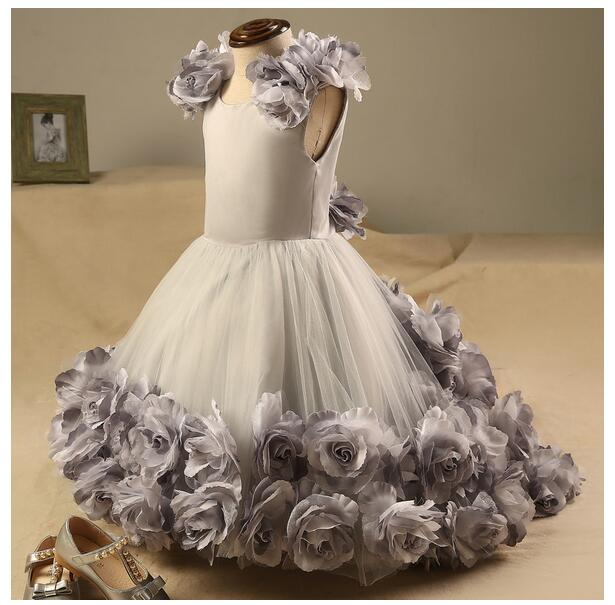 Baby Girls Pageant Formal Dresses 2017 Flowers Gown Infant Girls Princess Tutu Dress Gauze Kids Birthday Wedding Long Dresses