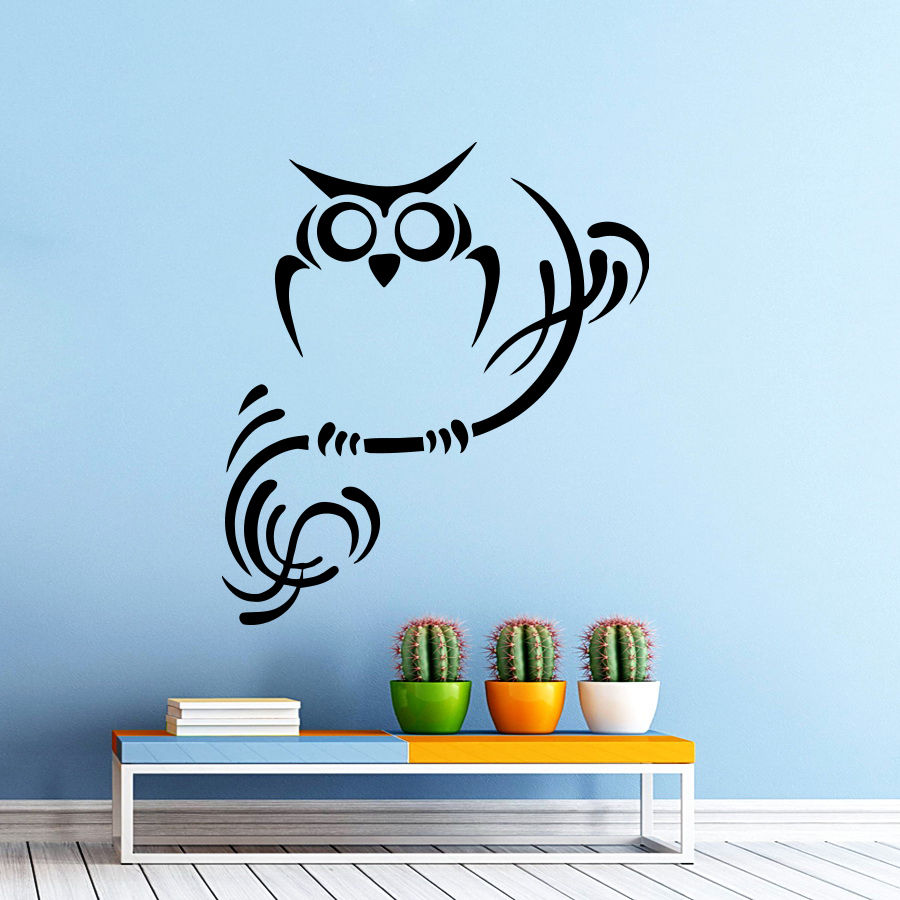 Wall Decals Owl on Branch Vinyl Sticker Home Decor Bedroom