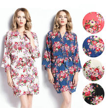 HIRIGIN Newest HOT Women Floral Robe Dressing Gown Bridal Wedding Bride Bridesmaid Kimono Lady Night Sleep Dress Nightwear