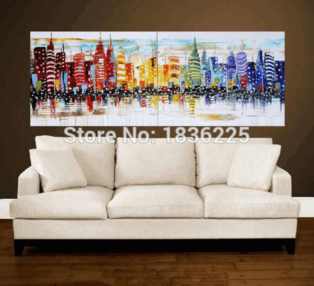 Wall Art Designer Modern City Landscape Oil Painting Handmade Building  Scenery Painting For Home Decor Knife Art In Painting U0026 Calligraphy From  Home ...
