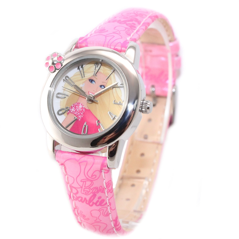 Lovely New Pink Leather Band Round PNP Shiny Silver Watchcase Children Kids Fashion Casual Watch KW041H