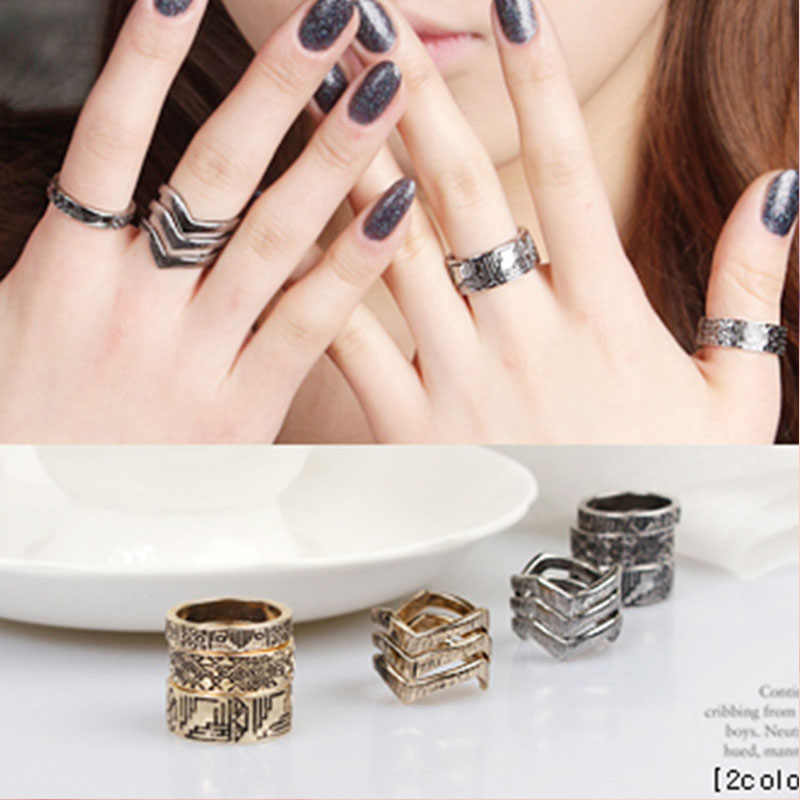 V Type Mark Metallic Rings Vintage Matched Golden Silver Midi Rings for Women 6 pcs/set