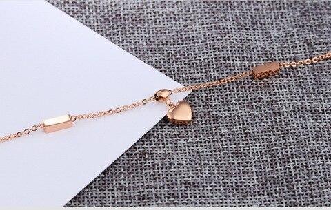 Женские браслеты на ногу из титановой стали цвета розового золота