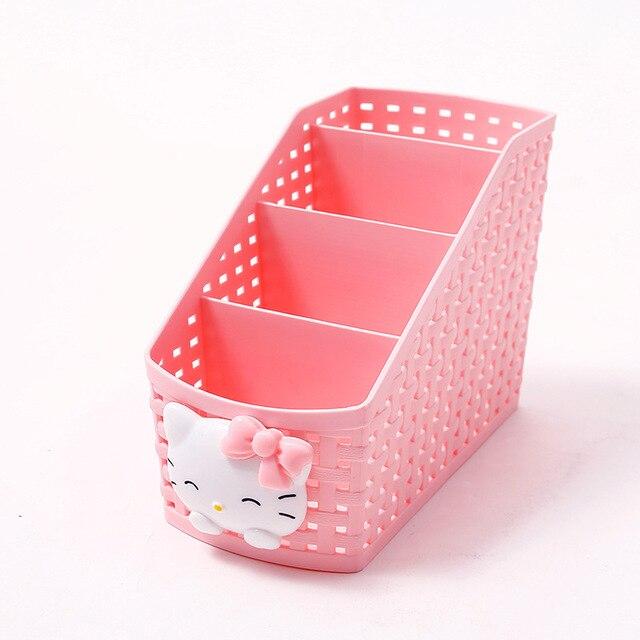 e0da95d899 Caroon Hello Kitty Makeup Organizer Storage Box Desk Office Organizer  Cosmetics Skin Care Plastic Storage Drawer