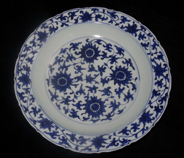 Ming Dynasty Wanli Blue And White Porcelain Lotus Flower Plate Dish Chinese Old Antique