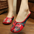 Ethnic Flats Shoes Women Old Peking Slippers Chinese Embroidery Soft Sole Casual Sandals Shoes Flip Flops 34-41 SMYXHX-B0197