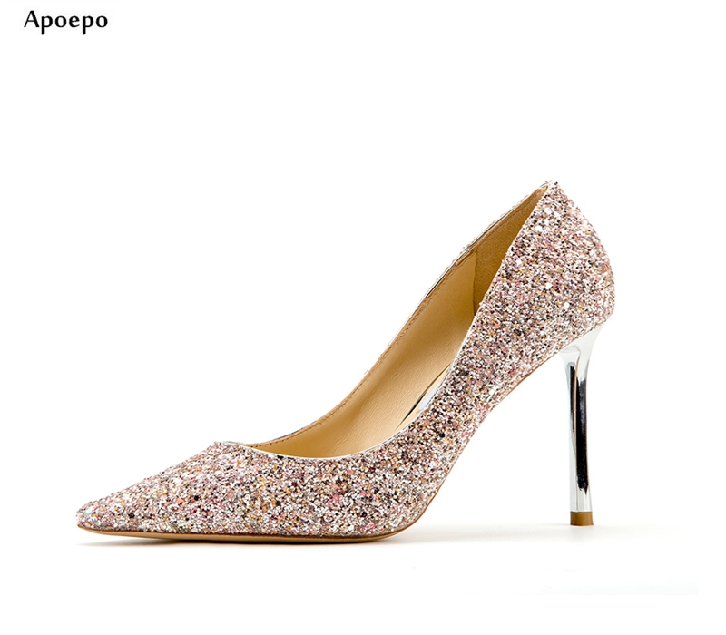Apoepo 2018 Newest Wedding Shoes for Woman Sexy Pointed Toe Glitter Embellished Thin Heels Shoes 10cm Heel Slip-on High Heels newest flock blade heels shoes 2018 pointed toe slip on women platform pumps sexy metal heels wedding party dress shoes