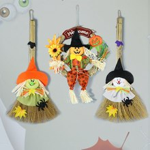 1pc Halloween Witch Broom Hanging Ornament Reed Doll Home Window Pendant Supplies Halloween Decorative Prop(China)
