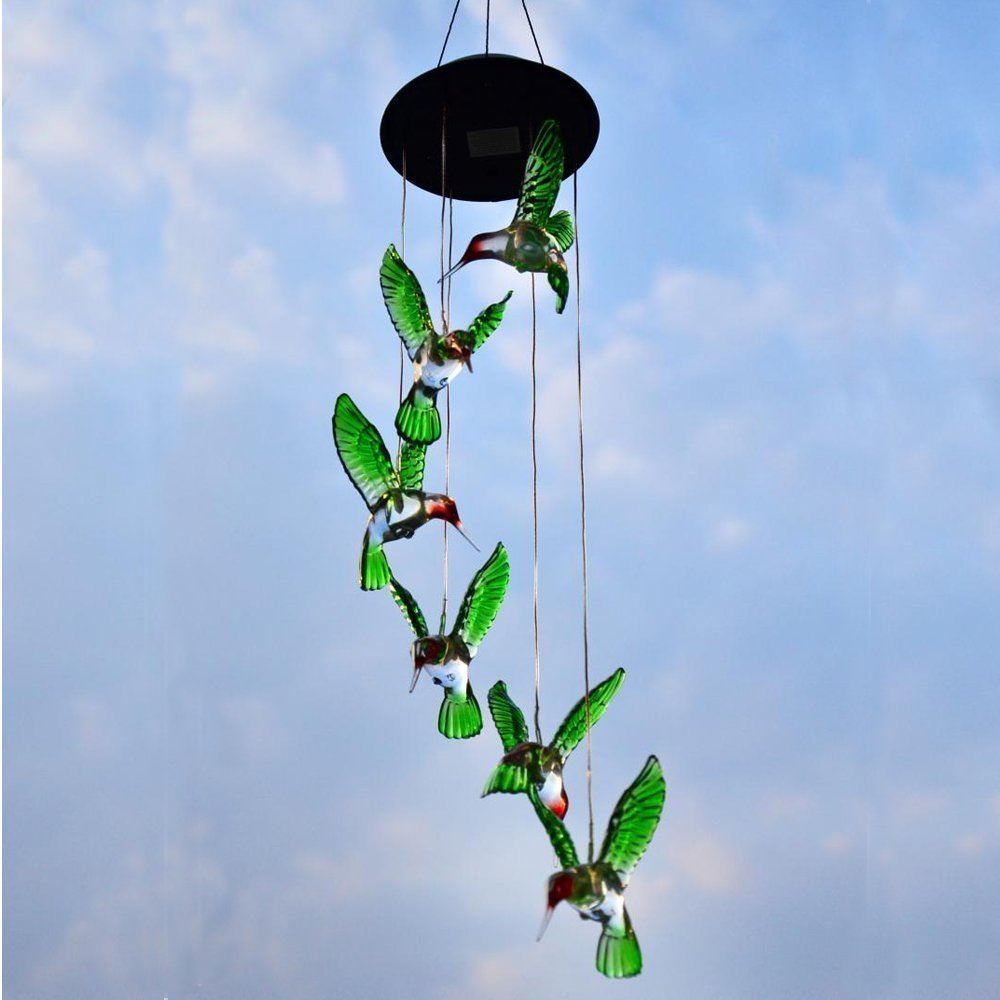 Color Changing LED Solar Wind Chime Light Waterproof Hummingbird Solar Power Lamp Home Yard Garden Decoration