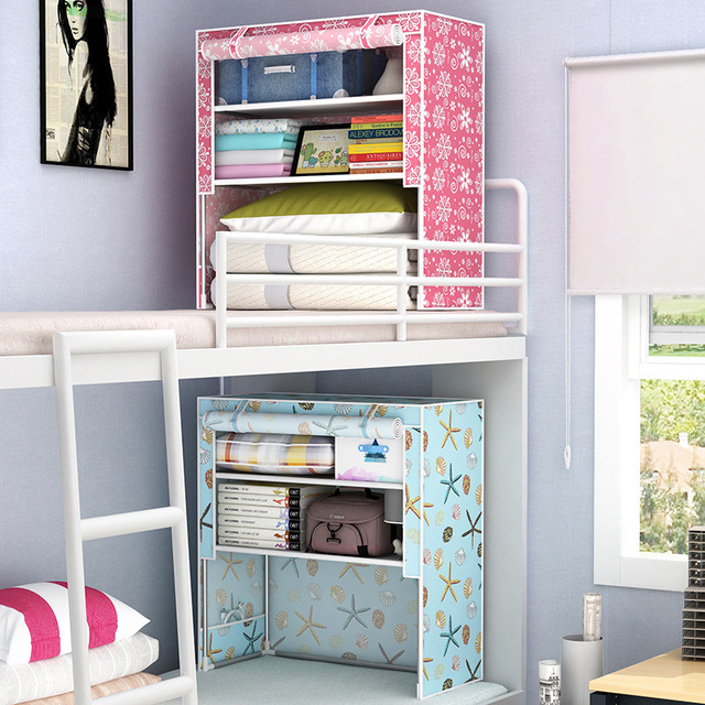 7 Style College Student Dormitory Artifact Up Down Bed Simple Cloth Wardrobe Bedside Storage Cabinets