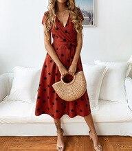 2019Womens Wave point Printing Half Sleeve Casual Mini Dress Fashion Sexy Dot Yellow V-Neck dress Vestidos Women
