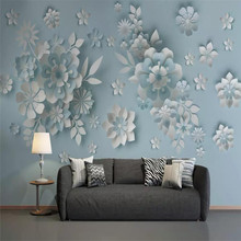 Custom wallpaper Nordic wind 3D embossed floral background wall paper mural decorative painting waterproof material