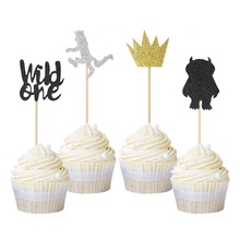 24Pcs Where the Wild Things Are Inspired Cupcake Toppers One Decoration Kids 1st Birthday Party Favor Free Shipping