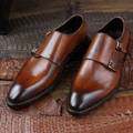Luxury brand mens light brown double monkle strap shoes bespoke goodyear welted dress shoes for men unique hand painted flats