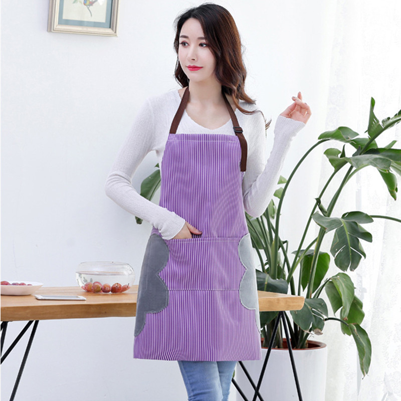 Image 3 - Abrasion Hand Apron Waterproof And Oil Proof Striped Apron Female Chef Adjustable Baking Accessories Commercial Restaurant-in Aprons from Home & Garden