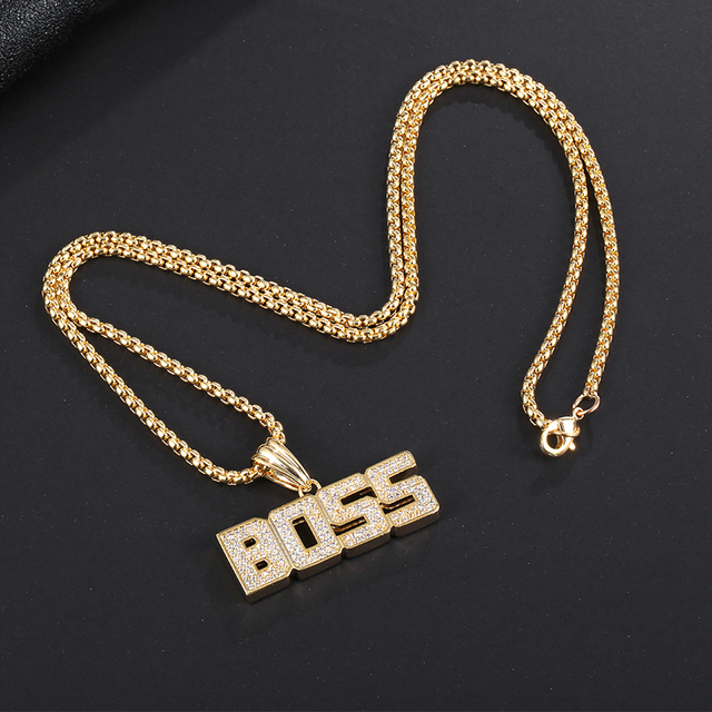 Cool Hiphop English Letter Necklace for men gold Chain Smalll Necklace Pendant on neck Necklace Jewelry