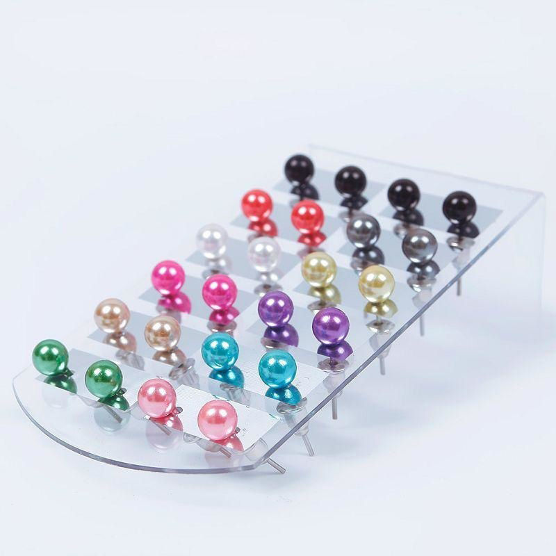 12Pair Set Colorful 6mm Pearl Earring With Display Stand For Women Jewelry  Bijoux Brincos Pendientes Mujer Fashion Stud Earrings 37fbe4ddbb