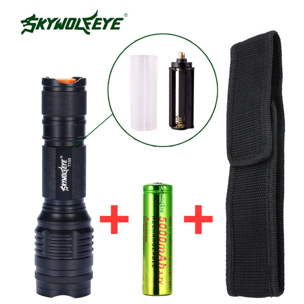 SKYWOLFEYE 3800 LM Zoom LED Torch searchlight Portable 18650 Battery Camping Hiking+18650 Battery