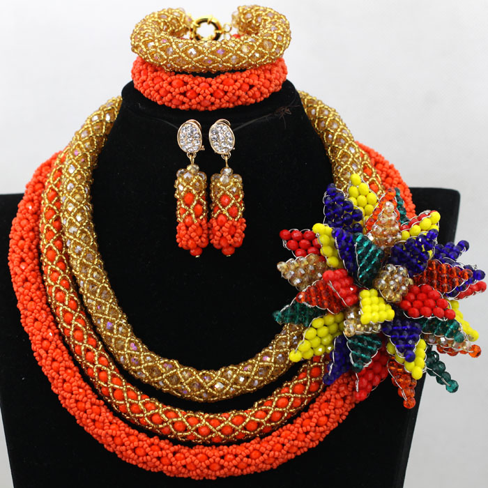 Exclusive Coral/Gold Indian Wedding African Beads Jewelry Set Big Flower Brooch Bridal Necklace Set Free Shipping WA668 blazer nife blazer