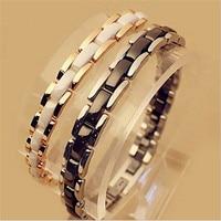 2016 White Black Ceramic Chain 316L Titanium Stainless Steel Bangles Bracelets Men Women Luxury Rose Gold