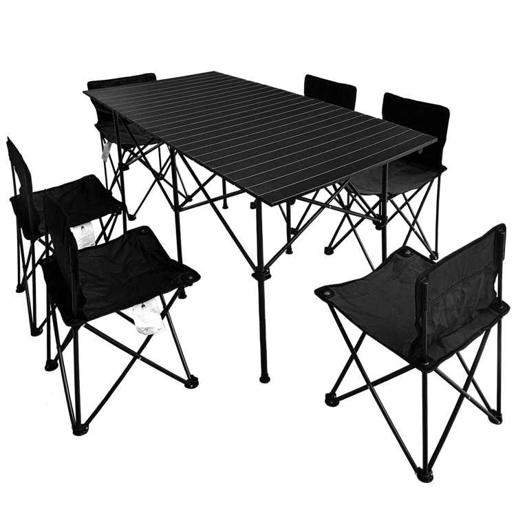 Outdoor Folding Table And Chair Set Portable Aluminum Camping Barbecue 7 Piece Set Self Driving Picnic Table And Chair Combinati Outdoor Tables Aliexpress