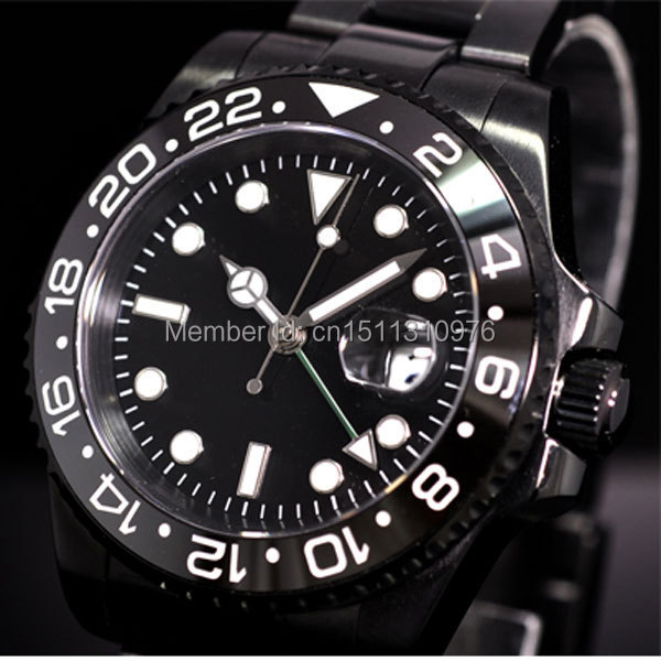 parnis luminous PVD GMT vintage sapphire automatic movement mens watch